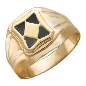 Мужское кольцо, в центре ромб, треугольники с эмалью, красное золото, 585 пробы