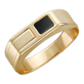 Мужское кольцо узкое, прямоугольник с эмалью, красное золото, 585 пробы