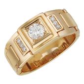 Мужское кольцо часовой браслет, в центре квадрат с фианитом, красное золото