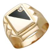 Кольцо мужское с фианитом и эмалью, красное золото