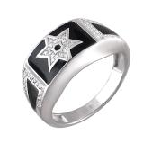 Кольцо мужское Звезда Давида с черной эмалью из серебра