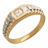 Кольцо мужское с фианитом, красное и белое золото