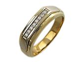 Мужское кольцо с дорожкой фианитов, желтое и белое золото, 585 пробы