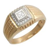 Мужское кольцо с фианитами, ребристая шинка, красное золото, проба 585