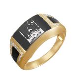 Кольцо мусульманское с Мечетью и Полумесяцем, желтое и белое золото с черной эмалью