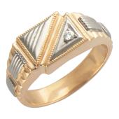 Кольцо мужское с фианитом, красное и белое золото 585 пробы