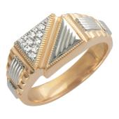 Кольцо мужское с фианитами, красное и белое золото 585 пробы