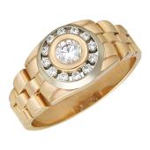 Мужское кольцо часовой браслет, круг с фианитами, в центре фианит круг, красное и белое золото