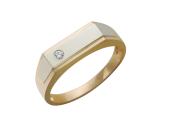 Мужское кольцо, прямоугольная шинка, один фианит круг, желтое и белое золото