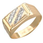 Кольцо мужское с алмазными гранями, красное и белое золото