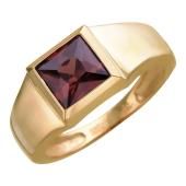 Мужское кольцо с цветным квадратным камнем (синий, зеленый, чёрный, рубиновый), красное золото 585 пробы