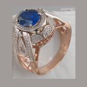 Кольцо перстень с сапфиром и фианитами из красного и белого золота 585 пробы