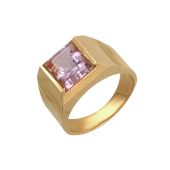 Мужское кольцо, в центре полудрагоценный камень квадрат (гранат, раухтопаз), красное золото