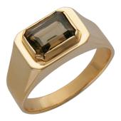 Мужское кольцо камнем формы багет (аметист, гранат, топаз, раухтопаз), красное золото