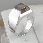 Кольцо мужское с раухтопазом багет, серебро
