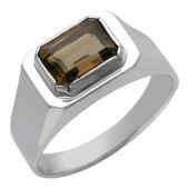 Кольцо мужское с раухтопазом, серебро