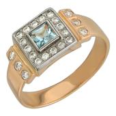 Мужское кольцо, полудраг квадрат и фианиты, комбинированное золото, 585 пробы