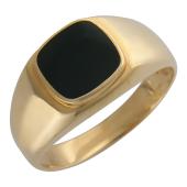 Мужское кольцо, оникс квадрат с округлыми краями, красное золото 585 пробы