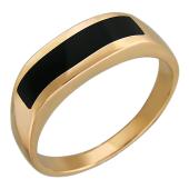 Печатка оникс черный, красное золото 585 пробы