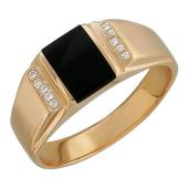 Кольцо мужское с ониксом и фианитами из красного золота 585 пробы