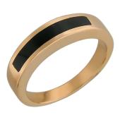 Кольцо мужское с полосой черного оникса, красное золото 585 пробы
