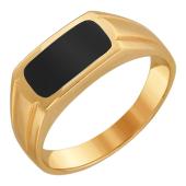 Кольцо мужское с ониксом из красного золота 585 пробы