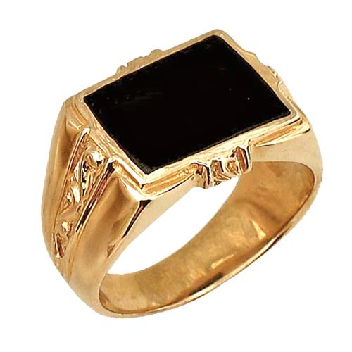 Печатка фианит бесцветный, оникс черный, красное золото, 585 пробы. p КОЛЬЦО: Мужское кольцо прямоугольным ониксом