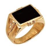 Мужское кольцо прямоугольным ониксом, красное золото