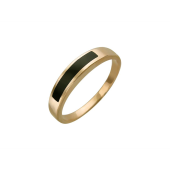 Мужское кольцо, оникс тонкая полоса, узкая шинка, красное золото 585 пробы