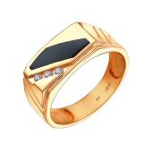 Кольцо мужское с прямоугольным ониксом и фианитами из красного золота 585 пробы