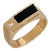 Мужское кольцо, оникс прямоугольник и фианит круг, красное золото, 585 пробы