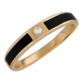 Мужское кольцо, оникс по краям и в центре фианит круг, красное золото 585 пробы