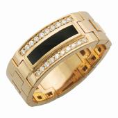 Мужское кольцо мягкое, оникс и дорожки фианитов, красное золото 585 пробы