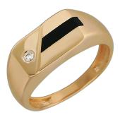 Мужское кольцо, оникс полоса посередине и фианит, красное золото, 585 пробы