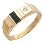 Мужское кольцо, оникс, фианит круг, красное золото, 585 пробы