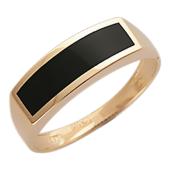 Мужское кольцо, оникс широкая полоса, красное золото, 585 пробы