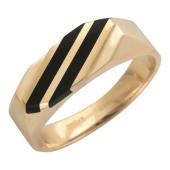 Мужское кольцо, оникс две полосы по диагонали, красное золото, 585 пробы