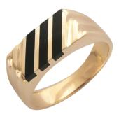 Мужское кольцо, оникс три полосы по диагонали, красное золото, 585 пробы