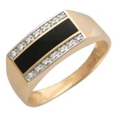 Мужское кольцо с фианитами и ониксом, красное золото