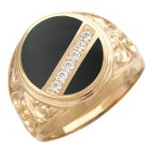 Мужское кольцо, оникс овал, фианиты по диагонали, по бокам узоры, красное золото, 585 пробы