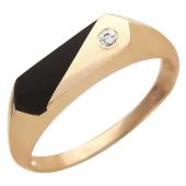 Кольцо мужское с прямоугольным ониксом и фианитом из красного золота 585 пробы