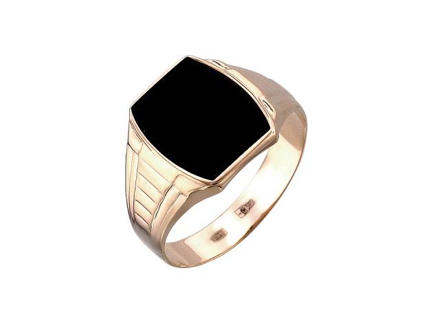 Манящее кольцо из красного золота c вставкой из оникса - фото 1. Манящее кольцо из красного золота c вставкой из