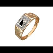 Кольцо мужское с ониксом и фианитами, красное золото