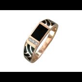 Кольцо мужское Витраж с ониксом и фианитами, красное золото