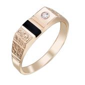 Кольцо мужское с ониксом и фианитом, красное золото