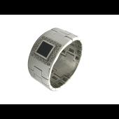 Мужское кольцо, оникс квадрат, вокруг фианиты, белое золото 585 проба