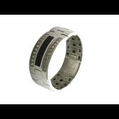 Мужское кольцо мягкое, оникс и дорожки фианитов, белое золото 585 пробы