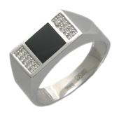 Дизайнерское кольцо мужское, белое золото, с черным ониксом и бесцветным фианитом