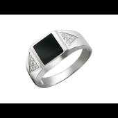 Мужское кольцо, оникс квадратный, два треугольника с фианитами по бокам, белое золото, 585 пробы