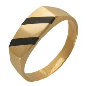 Мужское кольцо, оникс две полосы по диагонали, желтое золото, 585 пробы